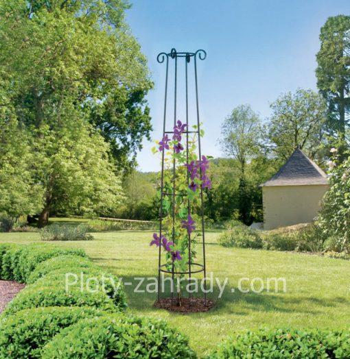 Kovová opora pre rastliny- obelisk cená, výška 200 cm, elegantná a estetická kovová opora pre popínavé rastliny do záhrady
