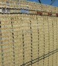 Tieniaca clona na plot. Dekoratívna, tkaná tieniaca clona v tmavohnedej a pieskovej farbe (12)