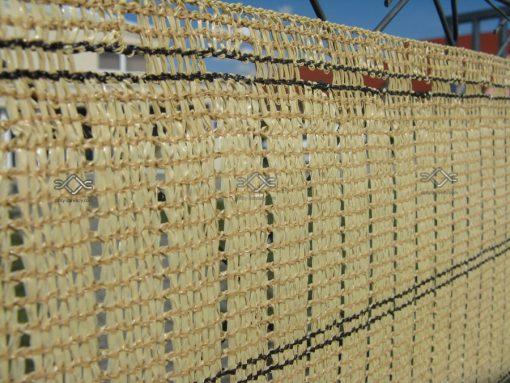 Tieniaca clona na plot. Dekoratívna, tkaná tieniaca clona v tmavohnedej a pieskovej farbe