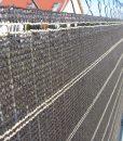 Tieniaca clona na plot. Dekoratívna, tkaná tieniaca clona v tmavohnedej a pieskovej farbe (4)
